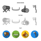 Log on supports, two-hand saw, ax, raising logs. Sawmill and timber set collection icons in flat,outline,monochrome style vector symbol stock illustration web. - 219078875