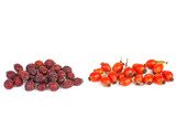 Fresh and dried red hips berries - 219082205