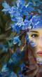 Leinwanddruck Bild - Woman person flower