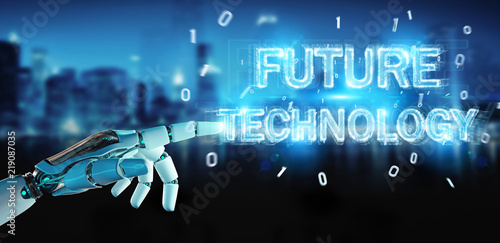 White robot hand using future technology text hologram 3D rendering © sdecoret