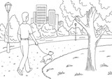 Park graphic black white landscape sketch illustration vector. Man is walking with a dog - 219088849