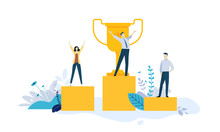 Illustration Concept Of Business Success Leadership Awards Career Successful Projects Goal Winning Plan Competition Creative Flat Design For Web Banner Business And Marketing Material Sticker