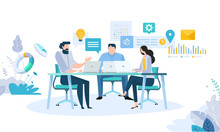 Illustration Concept Of Business Workflow Time Management Planning Task App Teamwork Meeting Creative Flat Design For Web Banner Marketing Material Business Presentation Sticker
