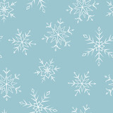 Snowflakes graphic blue color seamless pattern background illustration vector - 219090226