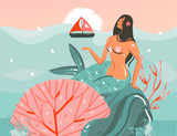 Hand drawn vector abstract cartoon summer time graphic underwater illustrations art template background with ocean,beauty mermaid girl and pink sunset - 219090810