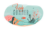 Hand drawn vector abstract cartoon summer time graphic underwater illustrations art template background with ocean bottom,beauty mermaid girl and love Summer text isolated on white - 219090856