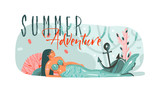 Hand drawn vector abstract cartoon summer time graphic underwater illustrations art template background with ocean bottom,beauty mermaid girl and Summer Adventure typography text isolated on white - 219090887