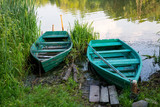wooden boats on river - 219092415