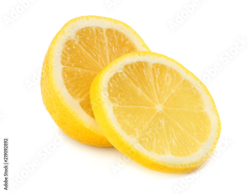 healthy food. lemon with slices isolated on white background - 219092892