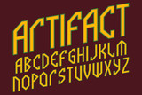 Artifact alphabet. Ancient style font. Isolated english alphabet. - 219094615