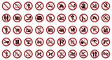 50 Verbots- & Warnschilder (Rot)