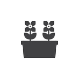 Flower pot vector icon. filled flat sign for mobile concept and web design. Potted flowers simple solid icon. Symbol, logo illustration. Pixel perfect vector graphics
