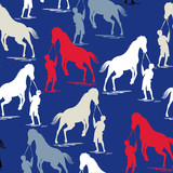 traditional  Horse pattern on navy