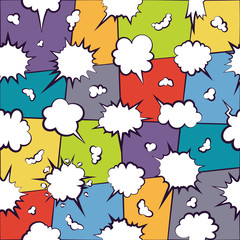Comics chatting empty cloud pattern