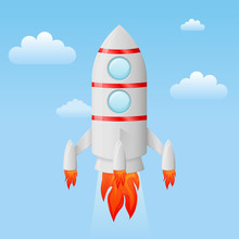 Rocket Flying In The Sky Colored Cartoon Drawing Sticker