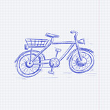 Bike. Blue hand drawn sketch on lined paper background