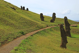 The legendary giant Moai statues on Rano Raraku volcano, UNESCO world heritage site on Easter Island, Chile, South America  - 219104833