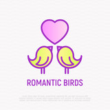 Romantic birds thin line icon: two sparrows with heart, symbol of love. Modern vector illustration.