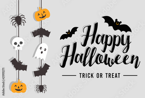 Happy Halloween Text Banner with bat, spider, pumpkin and ghost, Vector