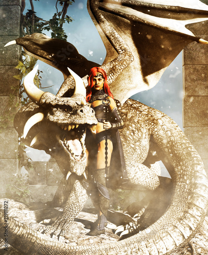 A female warrior with a dragon,fantasy 3d rendering for book cover or book illustration - 219111272