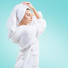 Young Woman In Bathrobe And Bath Towel On Head Sticker