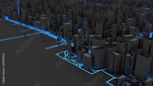 mata magnetyczna smart city concept