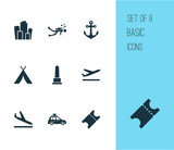 Traveling icons set with diving, departure, monument and other arrival