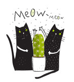 Cats pets and cactus doodle cartoon friends graphic design.