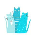 Kitten pets doodle cartoon friends graphic design.