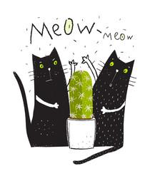 Cats pets and cactus doodle cartoon friends graphic design.