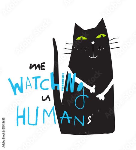 zabawa-czarny-kot-recznie-rysowane-siedzi-siedzi-patrzac-ty