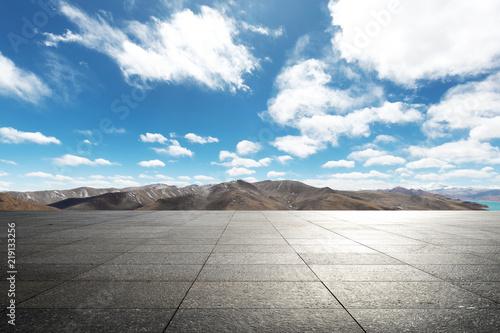 Fototapeta empty ground with blue sky