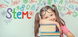 STEM word and symbols over beautiful cute little girl with books. modern education concept - 219134065