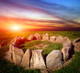 stone circle on susnet background - 219141888