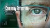A close up of a businessman eye controlling a futuristic computer system with an Company Structure concept. - 219148040