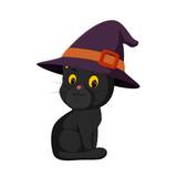 Illustration of Halloween kitten cartoon
