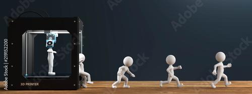3D Drucker weisse Männchen