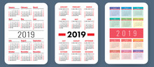 Calendar 2019 Colorful Set Week Starts On Sunday Basic Grid Sticker
