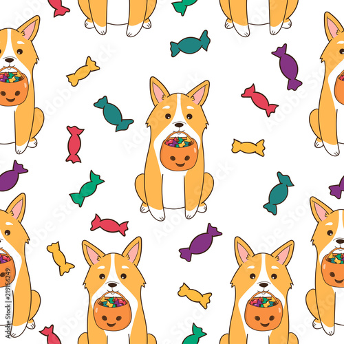 fototapeta na ścianę Halloween seamless pattern. Funny Corgi dog with candies. Cartoon style. Vector illustration.
