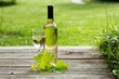 White wine bottle and glass on wooden table