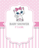 baby shower girl. Cute cat . space for text