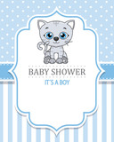 baby shower boy. Cute cat . space for text