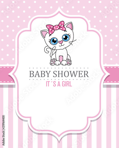 Fototapeta baby shower girl. Cute cat . space for text