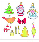 vacation vector drawings of New Year's toys, icicle, bell, candles for decorating works on the theme of Christmas and New Year