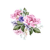 Watercolor wedding bouquet with peony flowers and anemon.  - 219175450