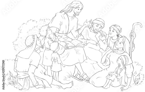 Jesus preaching to a group of people. Coloring page