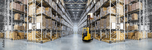 fototapeta na ścianę Panorama of huge distribution warehouse with high shelves with forklift. Bottom view.