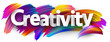 Creativity banner with colorful brush strokes.