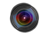 Large wide angle photo lens front view isolated with clipping path - 219194231