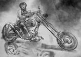 Biker.An hand drawn illustration, freehand sketching. - 219194846